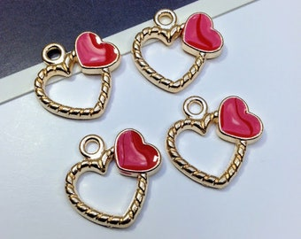 4 gold & red enamel heart charms 18x18mm cute love heart charms, wedding favors / making planner charms