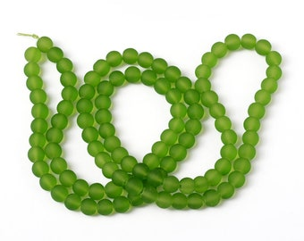 12 or Bulk Lot 50 Olive Green Frosted glass beads 8mm
