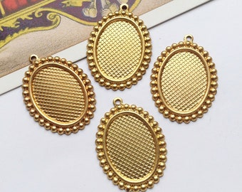 6 Vintage Raw Brass Settings for 18x13 cabochon / cameo with beaded edge