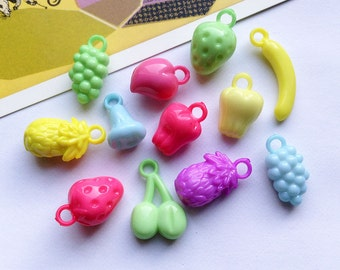 15/50/100 kitsch acrylic Fruit Charms mix 19-30mm lot of fruity plastic trinkets + bulk lots