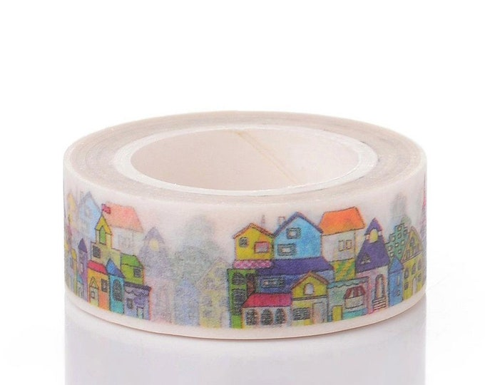 10m roll Scandi Town Washi Tape 15mm wide, boxed craft tape for stationery, gift wrap, arts
