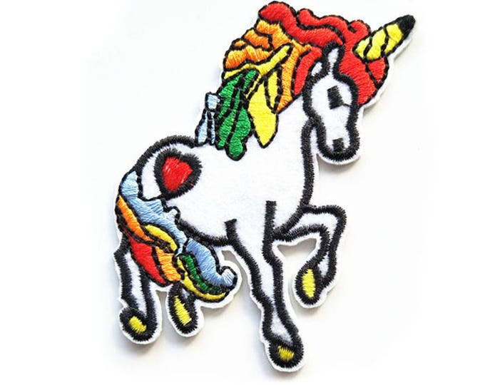 Bright Unicorn Iron On Patch 80mm Rainbow brite mane, kitsch embroidered badge for denim jackets, bags, jeans etc.