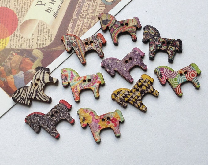 6 wooden Dala Horse buttons for scrapbooking, cardmaking, decoration, scandi