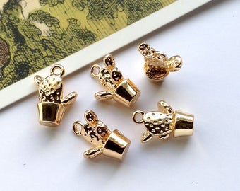 5 Tiny Gold Dipped Cactus Charms 15x11mm metal prickly pear, botanical little trinket