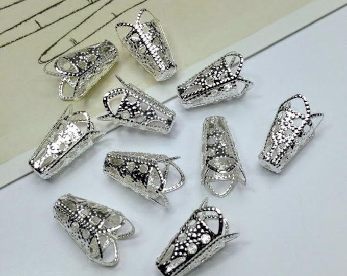 20 / 100 / 250 bulk Silver Tone Filigree Bead Caps 16x10mm bead cones for jewelry making supplies, making tassels