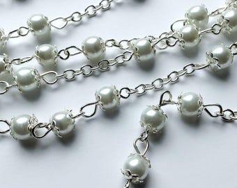 Glass Pearl bead chain 1 metre long