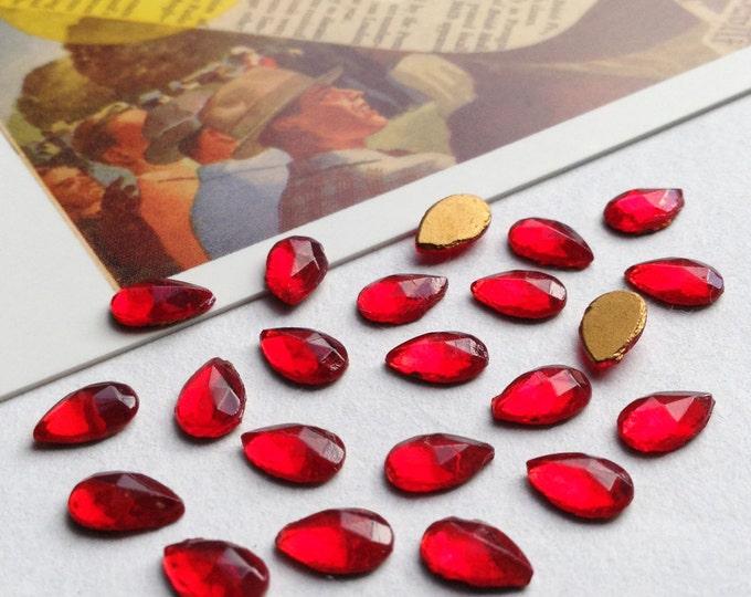 24 vintage tiny red glass 6x4mm flatback cabochons
