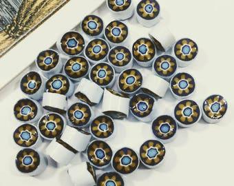12 vintage Moroccan porcelain mini stones 6mm