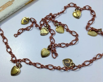 100cm Aged Vintage copper & brass chain w/love heart charms