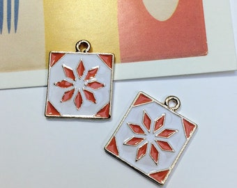 2 Enamel Moroccan Tile Charms 24x19mm bohemian supplies / pendants for boho necklace