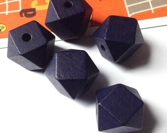 5 Navy Blue Wooden Geometric Beads 20mm
