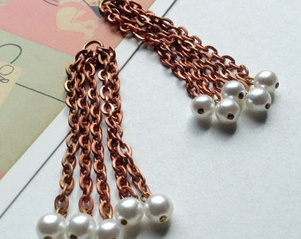 2 vintage copper and pearl tassel charms 63mm
