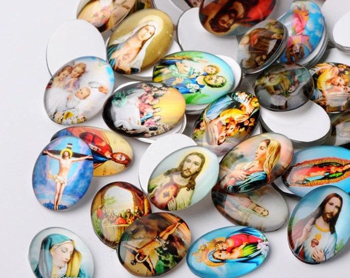 9 Glass Religious cabochons 25x18mm jesus, sacred heart, virgin mary,  flat back Christian oval flat backs]