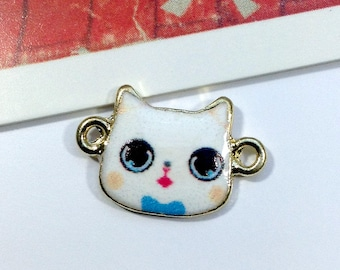 2 Enamel Cute Cat connector charms 18x11mm
