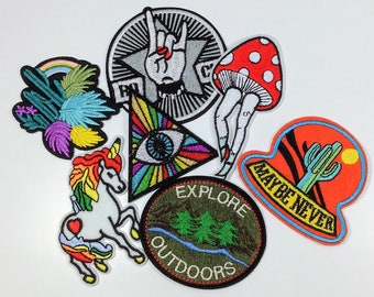 5pc Iron On Patch Subscription Box, Mix of embroidered badges for jackets, bags, jeans etc.