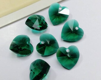 6 vintage emerald green glass heart charms, 10mm Austrian Faceted glass hearts
