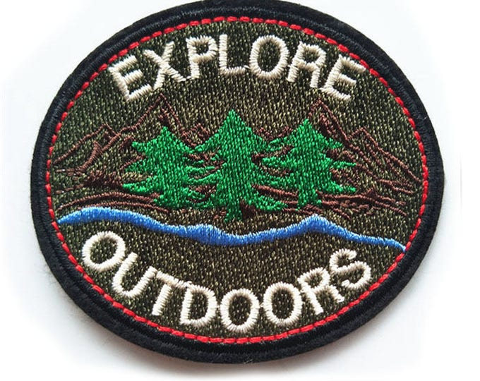 Explore Outdoors iron on patch 78x69mm camping / exploration embroidered badge for tent, denim jackets, bags, jeans etc.
