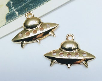 2 gold plated Spaceship charms 22x16mm
