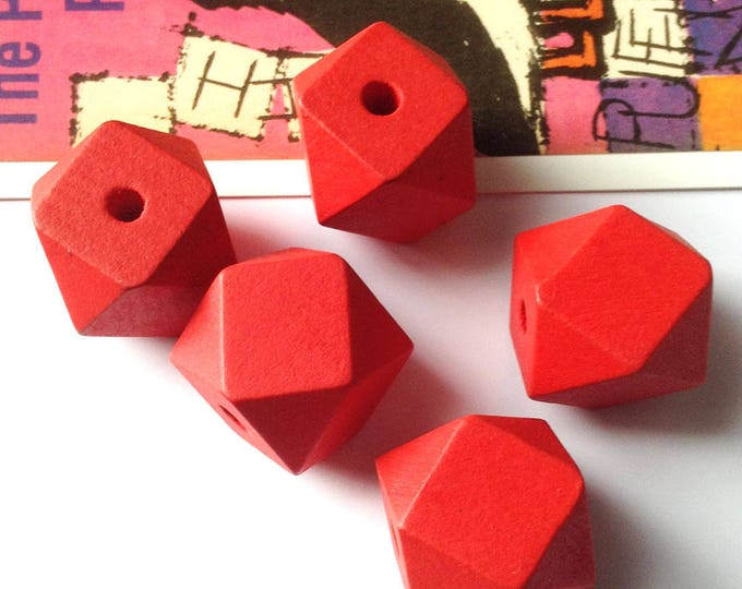 5 Red Wooden Geometric / Polygon Beads 20mm