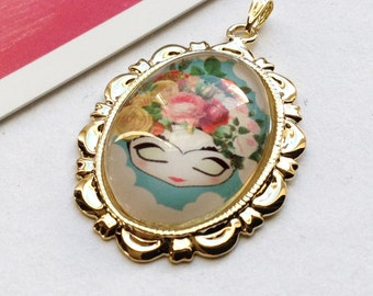 Gold Plated Little Frida Kahlo pretty glass charm  37x25mm