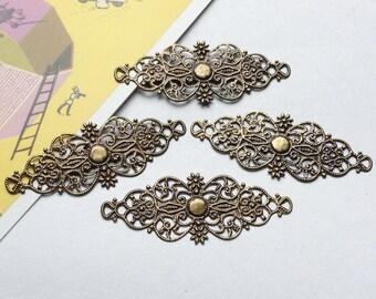 4 bronze filigree findings 60x20mm pliable antiqued brass filigree bars / stampings