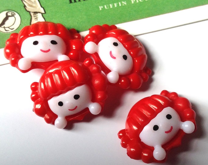 5 Red Haired Rag Doll plastic Buttons 22x17mm