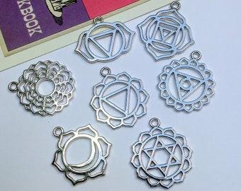 7pc Silver Tone Chakra Charms Set 30mm yoga pendants / chakra symbols for jewellery making