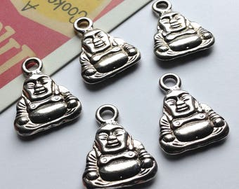 6 silver Buddha charms 20x16mm