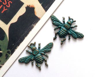 2 Bronze Bee Charms with Blue Patina 32x23mm insect findings