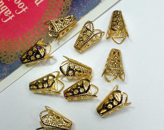 20 / 100 / 250 bulk Gold Tone Filigree Bead Caps 16x10mm bead cones for jewelry making supplies, making tassels