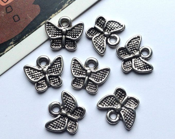 6 small silver tone butterfly charms 11x13mm pretty summer butterflies trinkets