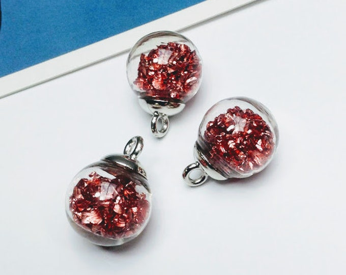 3 small Clear Glass Globe Charms 22x16mm with deep pink stones, magical & fairytale delicate trinkets