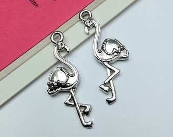 4 silver tone Flamingo charms 26x9mm