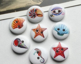 6 White Sea Creature Buttons 15mm