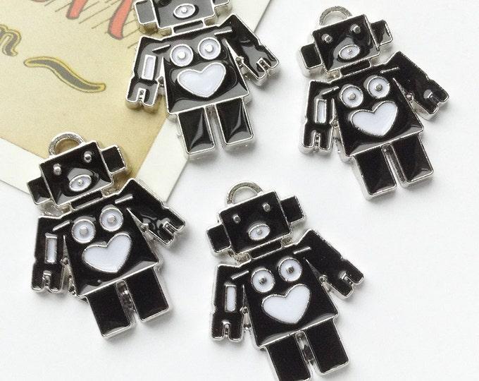 4 Black + White Robot charms 28x20mm enamelled metal  Sci-Fi 60s style trinkets