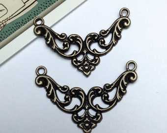 4 Antiqued Bronze filigree connectors 38x27mm  / filigree connector charms / dark brass findings