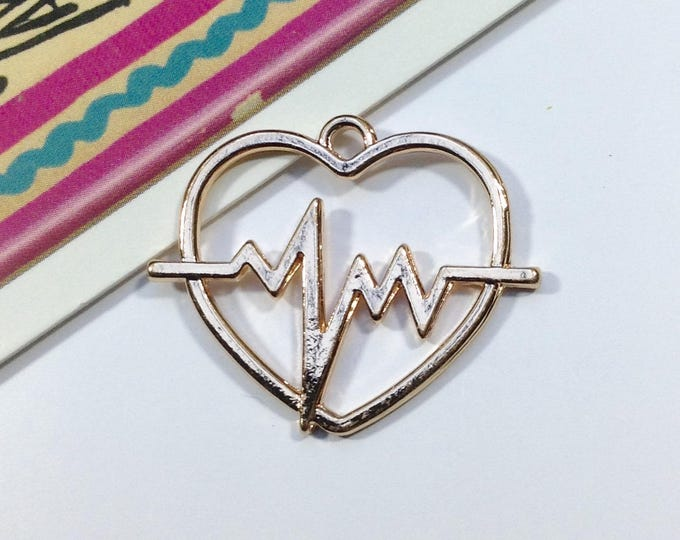 Gold Plated Heartbeat Charm 30x25mm love heart for making necklace, medical / doctor / nurse theme