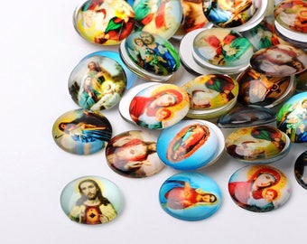 9 Glass Religious cabochons 25mm round jesus, sacred heart, virgin mary,  flat back Christian oval flat backs / christmas  #75a