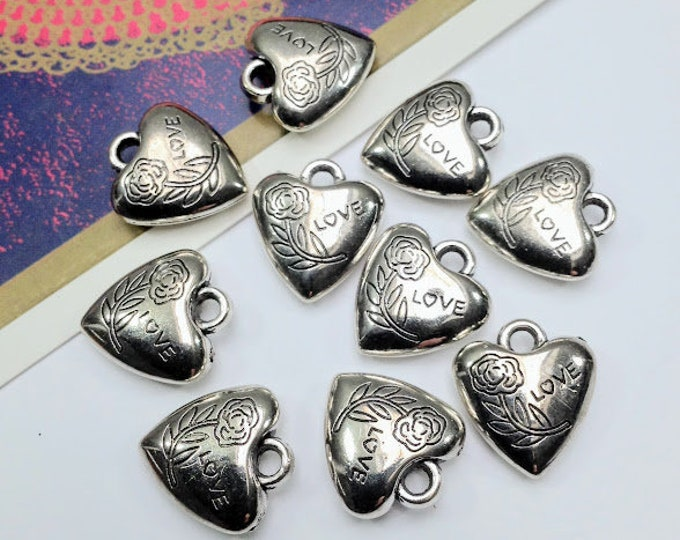10 silver tone puffed Love heart charms, 17x16mm acrylic floral hearts / pendants for jewellery making