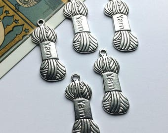 6 Silver Tone Ball of Yarn Knitting Charms 31x11mm for making stitch markers
