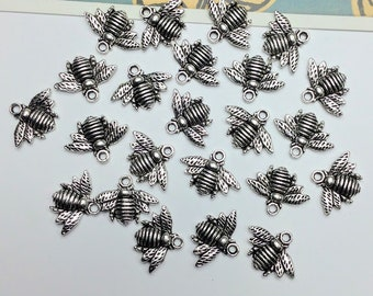 10 silver tone Honey Bee Charms 16x20mm antiqued silver bees for jewellery making