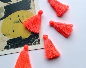 10 mini Neon Orange cotton tassels 25mm