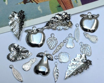 12 silver plated Harvest Mix charms