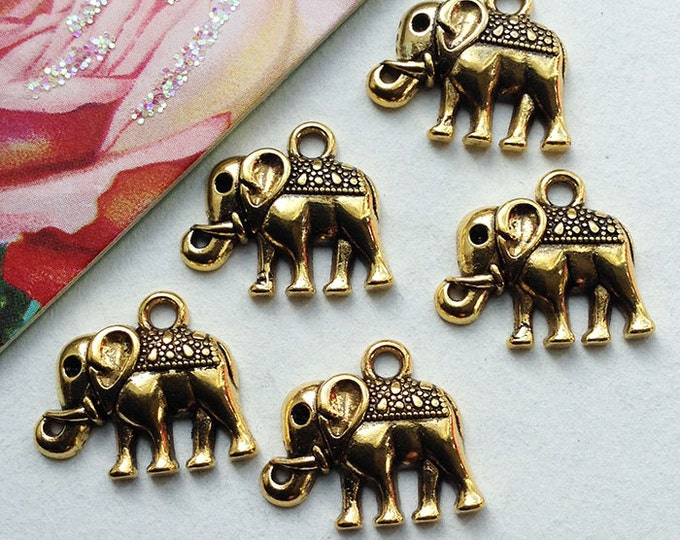 5 Indian Elephant charms 17x13mm ethnic Bohemian goldtone Ibiza hippy boho trinkets