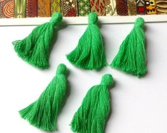 10 mini Green cotton tassels 25mm