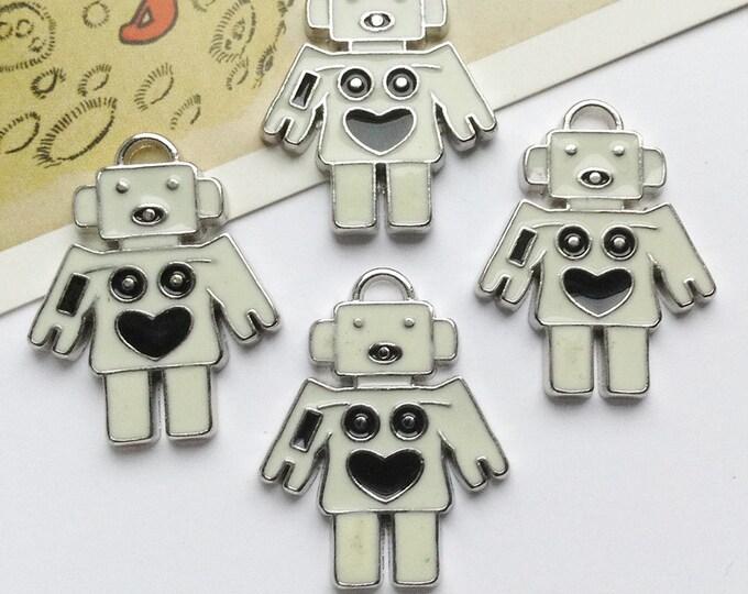 4 White + Black Robot charms 28x20mm enamelled metal  Sci-Fi 60s style trinkets