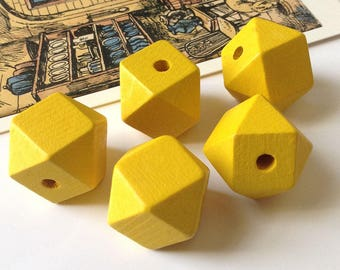 Bulk Lot 25 Yellow Wood Geometric Beads 20mm hinoki wooden polygon beads for necklaces
