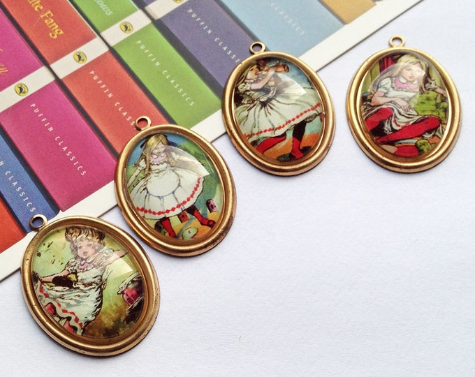 Set of 4 vintage Alice in Wonderland charms set 33x22mm domed glass / brass, necklace size charms