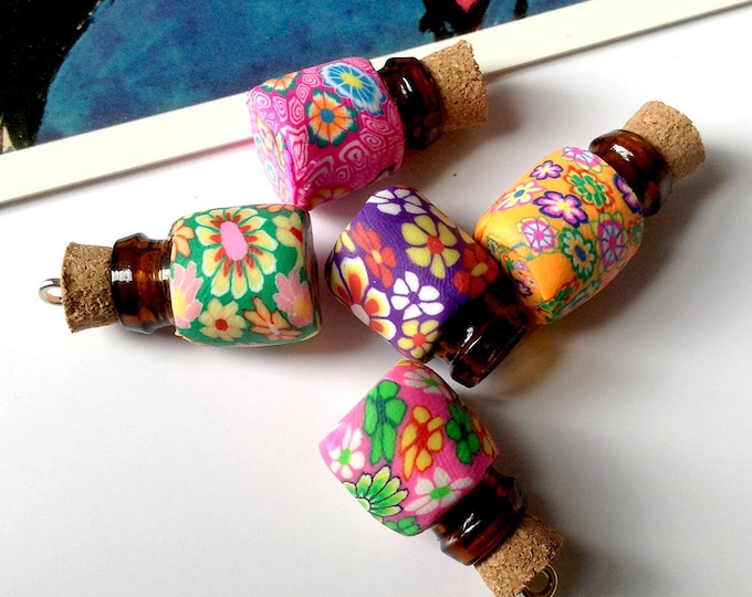 Floral Mini Glass Bottle Charm 19x13mm tiny bottle with cork stopper/lid