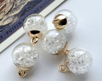 3 small Clear Glass Globe Charms 22x16mm with sparkling stones
